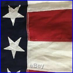 WW2 Era 48 Star American U. S. Flag 5'x9.5' Stiched Stars Stripes NOS Linen
