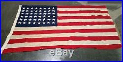 WWII AMERICAN 48 STAR FLAG U S NAVY SHIP 78x 48 SEWN ON STARS LEAD HEADINGS