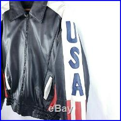 Wilda Men's Genuine Leather Jacket American Flag USA Motorcycle Size Small S