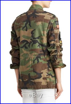 Women's Polo Ralph Lauren Canvas US Flag Military Camo Field Jacket New