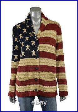 Women's Ralph Lauren Polo USA American Flag Cotton Linen Cardigan Sweater New