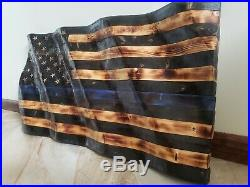 Wooden American Flag. Wavy Beautiful Hand Carved. Made in the USA